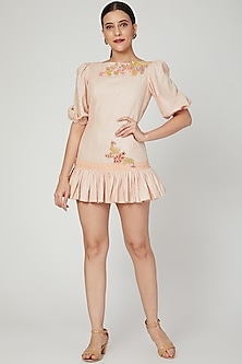 Apricot Embroidered Mini Dress by Naffs