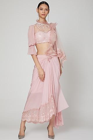 Blush Pink Embroidered Draped Saree Set by Naffs