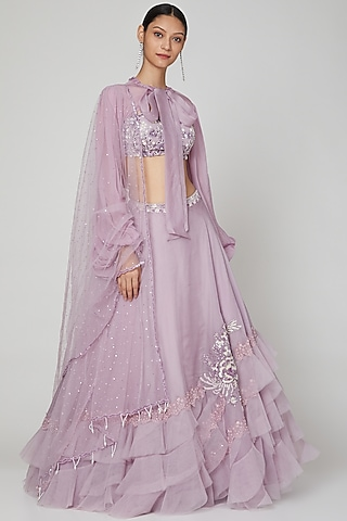 Mauve Embroidered Lehenga Set by Naffs