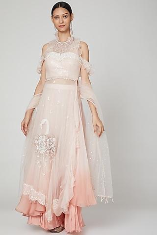 Blush Pink Embroidered Skirt Set by Naffs
