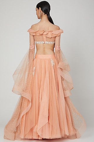 Peach Embroidered Lehenga With Blouse by Naffs