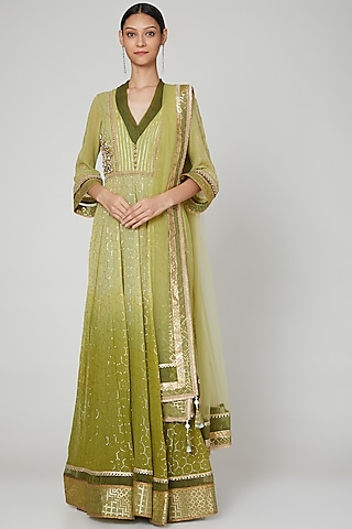 Mehendi Green Embroidered Anarkali With Dupatta by Naffs