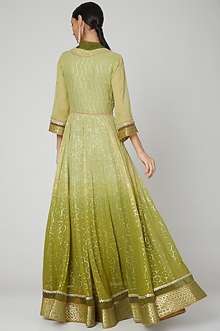 Mehendi Green Embroidered Anarkali With Dupatta by Naffs
