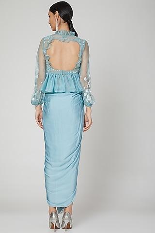 Sky Blue Embroidered Skirt Set by Naffs