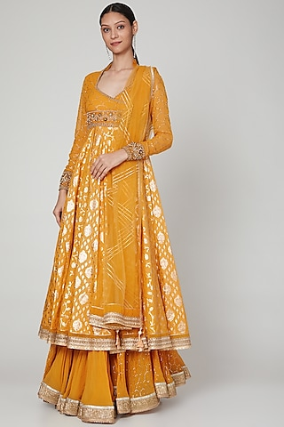 Peachy Orange Embroidered Gharara Set by Naffs