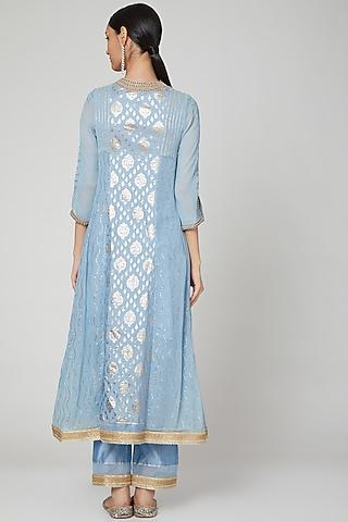 Sky Blue Embroidered Kurta Set by Naffs