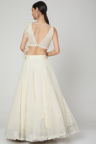 White Pearls Embroidered Lehenga With Blouse by Naffs