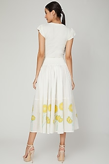 White Buttercup Flared Skirt by NAINA ARUNIMA