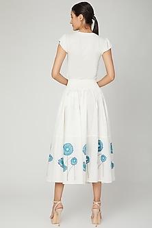 White & Blue Flared Skirt by NAINA ARUNIMA