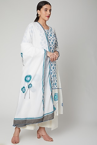 Sea Blue & White Dupatta by NAINA ARUNIMA