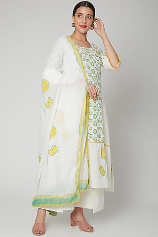 White & Buttercup Cotton Dupatta by NAINA ARUNIMA