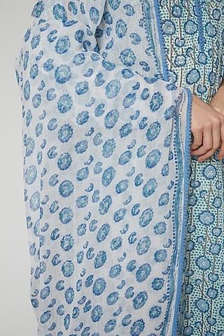 Sea Blue & White Cotton Dupatta by NAINA ARUNIMA