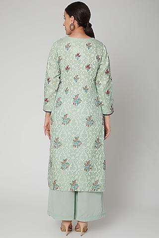 Mint Green Embroidered Silk Kurta Set by NAINA ARUNIMA