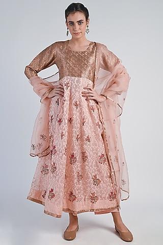 Copper & Peach Embroidered Anarkali Set by Naina Arunima