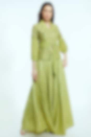 Mint Green Embroidered Banarasi Skirt Set by NIsha Ajmera