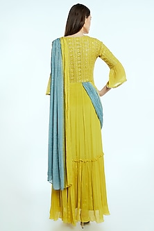 Yellow Embroidered Draped Saree Gown by NIsha Ajmera
