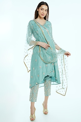 Sky Blue Embroidered Wrap Kurta Set by NIsha Ajmera