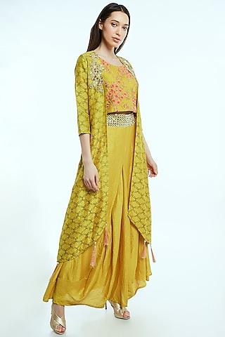Yellow Embroidered & Printed Skirt Set by NIsha Ajmera