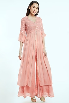 Blush Pink Chikankari Kurta With Palazzo Pants by NIsha Ajmera