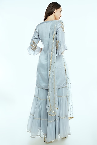 Grey Embroidered Sharara Set by NIsha Ajmera