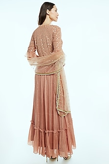 Rose Gold Striped & Embroidered Anarkali Set by NIsha Ajmera