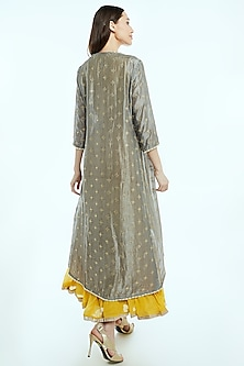 Yellow Embroidered Maxi Dress With Cape by Nisha Ajmera