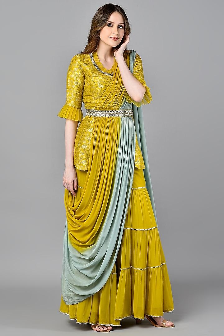 Yellow Brocade Tiered Sharara Set by NIsha Ajmera