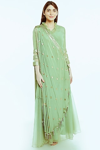 Sage Green Embroidered Anarkali Gown With Drape by NIsha Ajmera