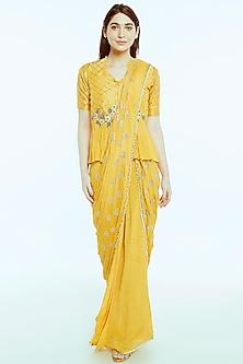 Mango Yellow Aari Embroidered Draped Saree Set by NIsha Ajmera