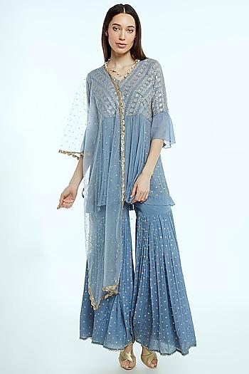 Sky Blue Embroidered Sharara Set by NIsha Ajmera
