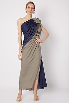 Blue & Grey Shaded Gown by Na-ka-POPULAR PRODUCTS AT STORE
