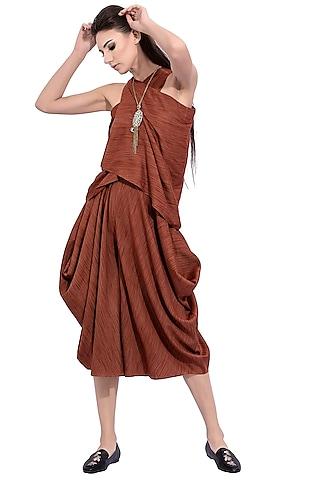 Rust Orange Striped Top With Skirt by Na-ka