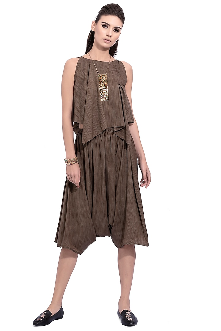 Olive Green Striped Top With Draped Skirt by Na-ka