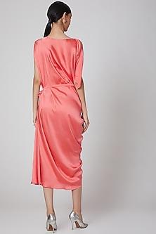 Peach Silk Satin Draped Dress by Na-Ka