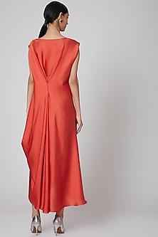 Orange Draped Dress With Pleated Neckline by Na-Ka
