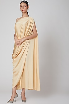 Yellow Draped Dress With Scarf by Na-Ka
