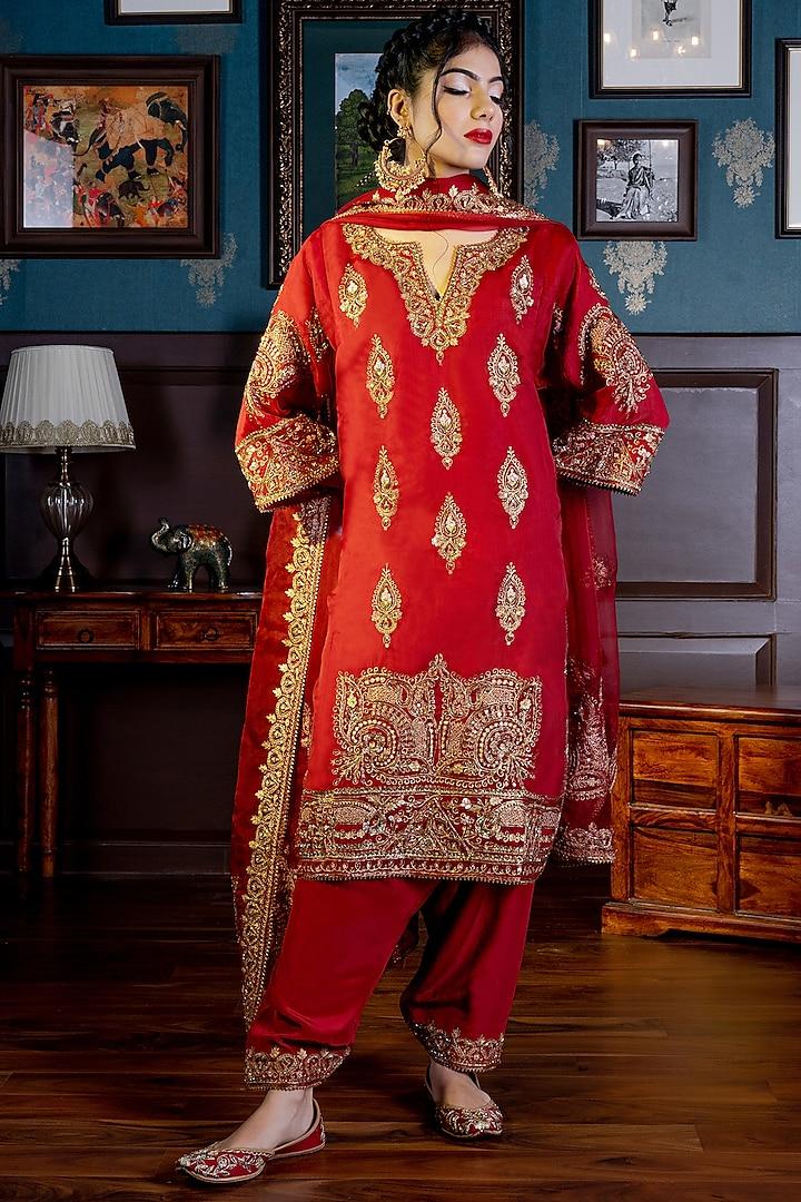 Red Zardosi Embroidered Choga Kurta Set by NAMEH
