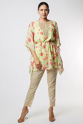 Green Floral Printed Kaftan With Pants by NAMRATA LAKHOTIA
