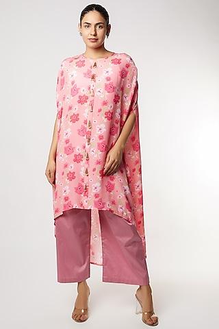 Pink Printed Kurta Set by NAMRATA LAKHOTIA