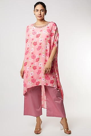 Pink Embroidered Kurta Set by NAMRATA LAKHOTIA