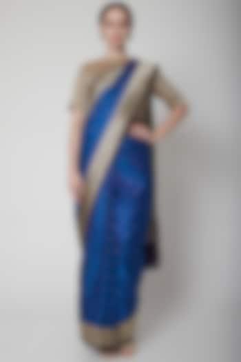 Cobalt Blue Handcrafted Saree by NARMADESHWARI