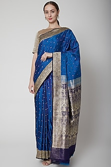 Cobalt Blue Handcrafted Saree Set by NARMADESHWARI
