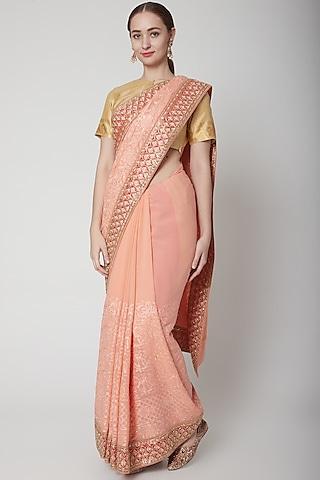 Peach Hand Embroidery Saree Set by NARMADESHWARI