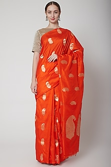 Orange Handcrafted Saree Set by NARMADESHWARI