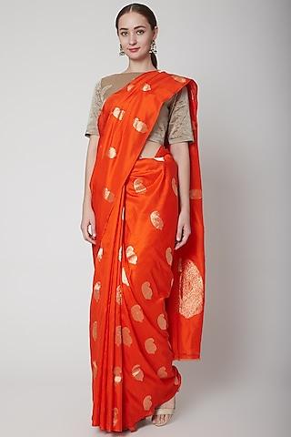 Orange Handcrafted Saree Set by NARMADESHWARI