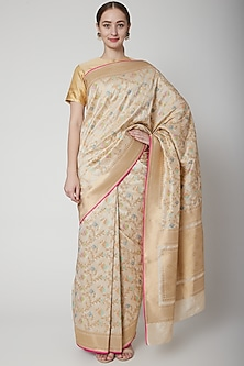 Beige Silk Saree Set by NARMADESHWARI