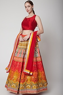 Mustard & Red Printed Lehenga Set by NARMADESHWARI