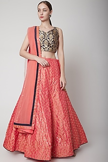 Blush Pink Embroidered Lehenga Set by NARMADESHWARI