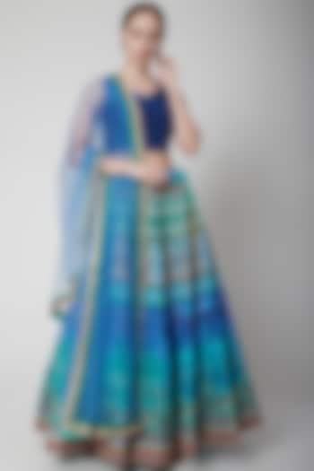 Cobalt Blue Printed Lehenga Set by NARMADESHWARI