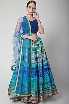 Cobalt Blue Printed Lehenga Set by NARMADESHWARI